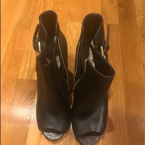 Black Open Toe Ankle Boots